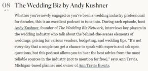 """The Wedding Biz Named One of """"The 11 Best Wedding Podcasts to Listen to Now"""" by Brides.com"""